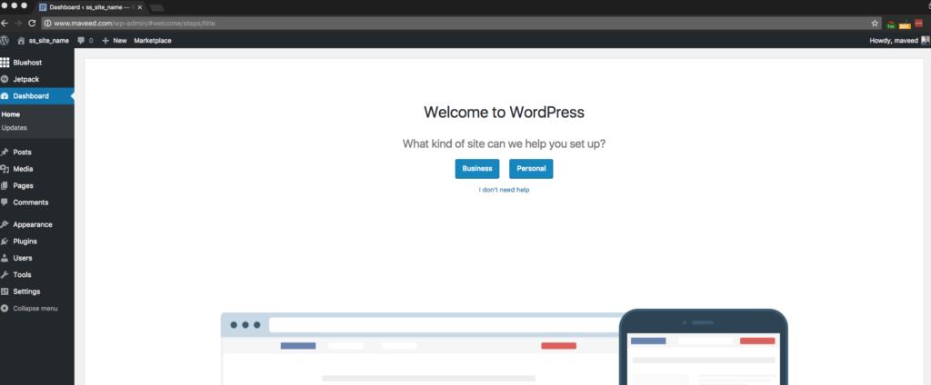 Step 8 WordPress Backend