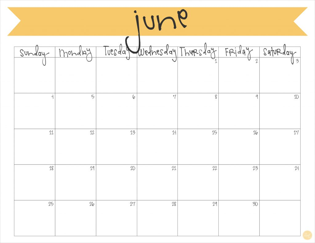 June 2017 Calendar - Free Printable | Live Craft Eat