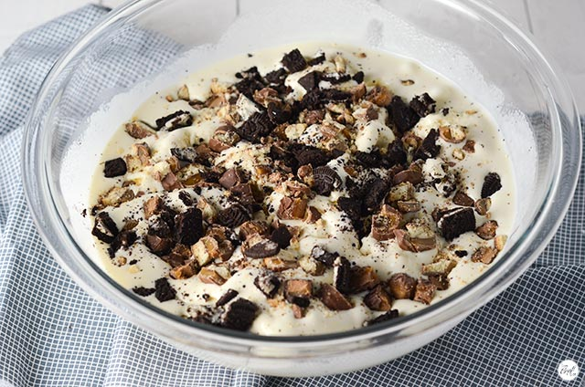 softened ice cream and candy bars