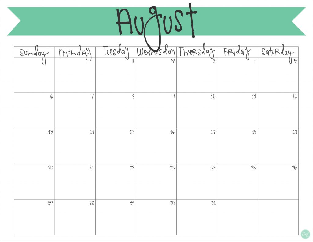 Calendar Monthly August : August calendar free printable live craft eat