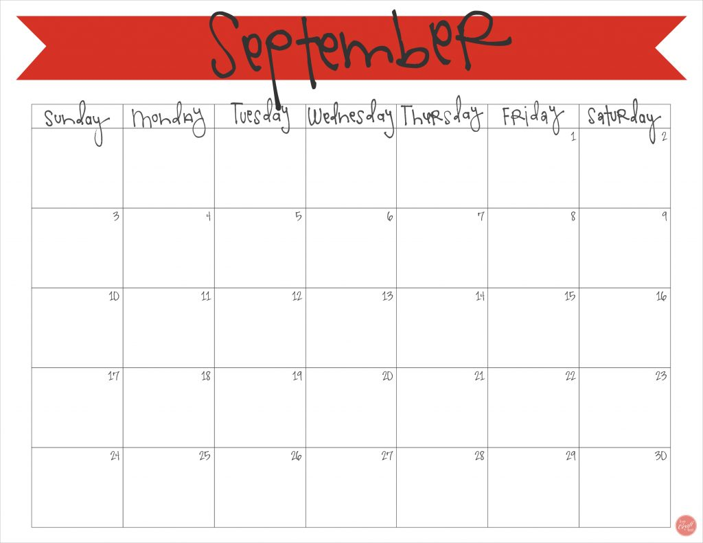 free printable september 2017 monthly calendar