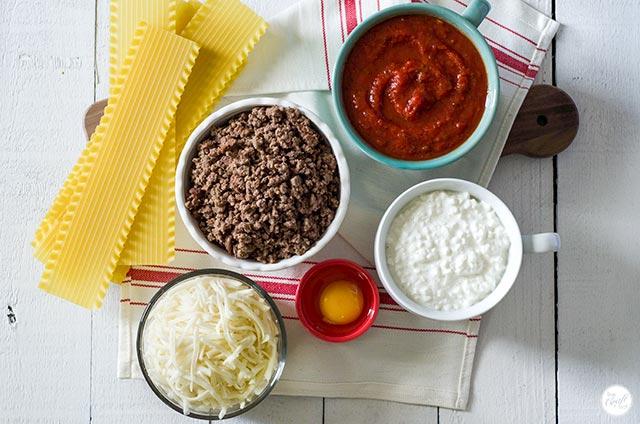lasagna noodles, ground beef, marinara sauce, cottage cheese, egg, mozzarella