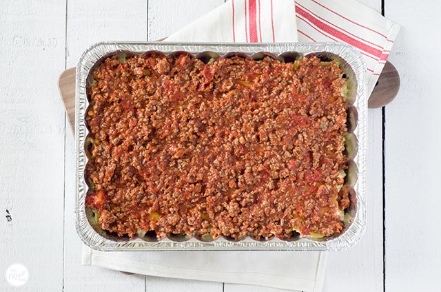 meat sauce lasagna layer