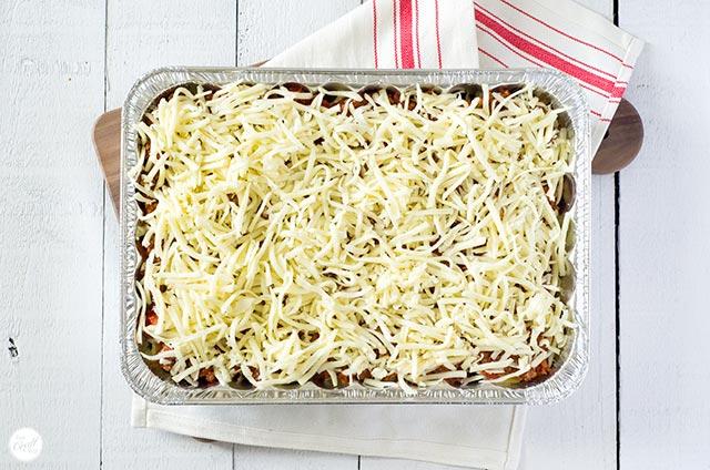 mozzarella layer on lasagna