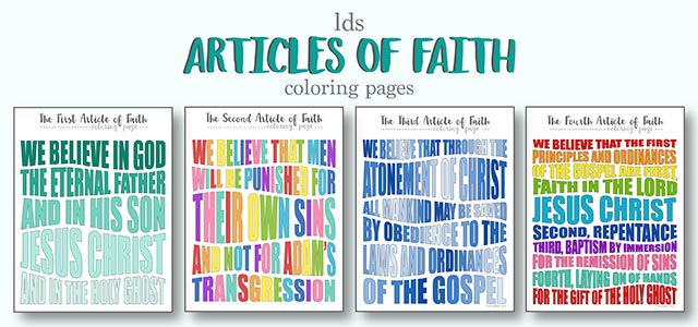 LDS Articles of Faith Coloring Pages | Live Craft Eat