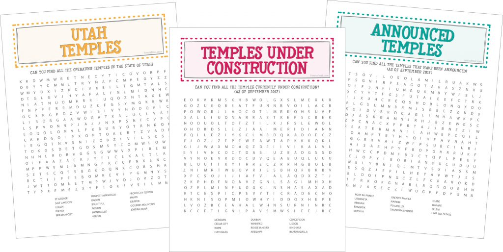 utah temples, temples under construction, announced temples :: free printable word searches