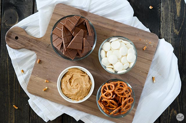 milk chocolate, white chocolate wafers, peanut butter, pretzels