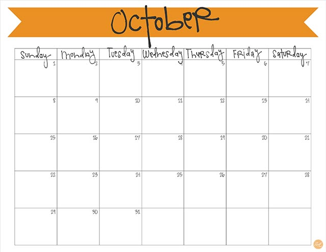 October 2017 Calendar - Free Printable | Live Craft Eat
